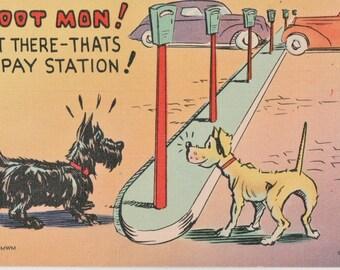 Scotty Scottie Dog & Terrier Dog ~ Hoot Mon! Vintage Color Litho Comic Postcard