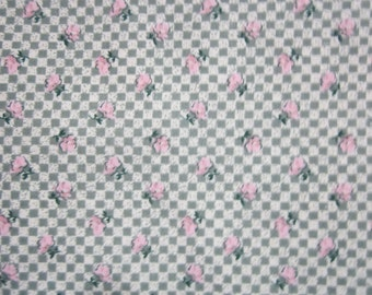 cotton fabric  olive green checkerboard with pink roses