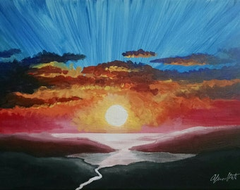 "Sunset - 9"" x 12"" Wrapped Canvas Original Painting"