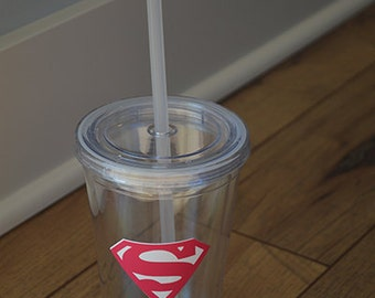 Personalized Girl Superman Tumbler