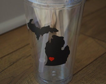 Michigan Acrylic Tumbler- Michigan with heart- cup with straw