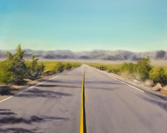 "Original acrylic desert landscape, landscape painting, desert painting, road painting, mountain painting, 18""x18"", acrylic art"