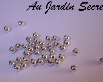 100 beads metal intercalire silver 4 mm - the Secret Garden