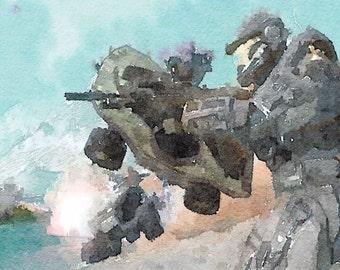 Halo series (8) digital Watercolor Poster Print Art
