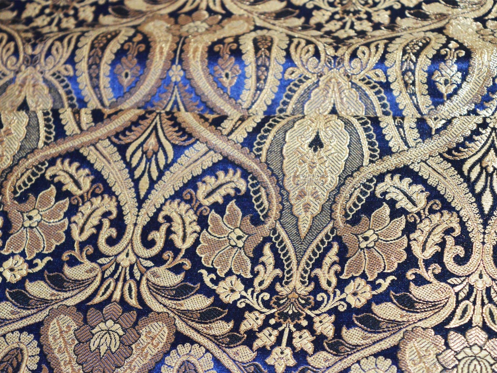 Navy blue and gold floral pattern weaving brocade fabric - Brocade home decor style ...