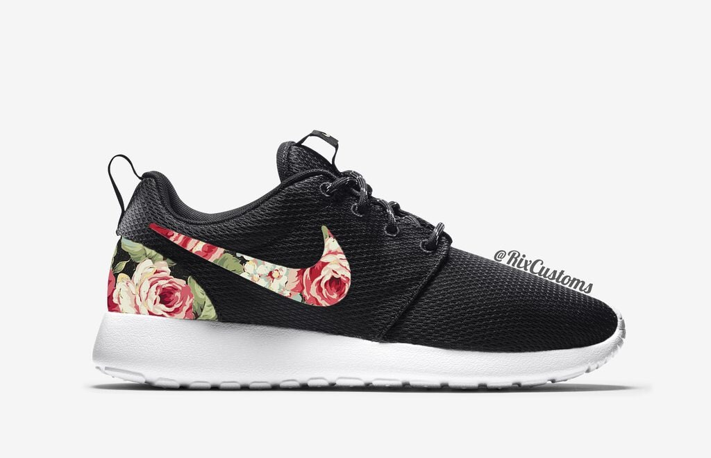 mens nike roshe run floral white red