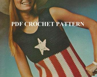 Vintage 1970'S Stars & Stripes Tank Top, Crochet PDF Pattern