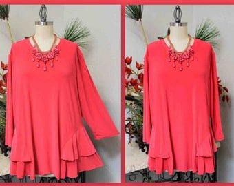 Adorable and Romantic Plus Size Tunic Top,Plus size clothing, XL/1XL,  2XL/3XL, Traveler, Lagenlook, Boho,
