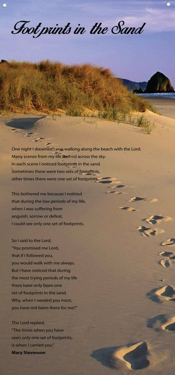 Footprints In The Sand Huge Beautiful Wall Quotes Canvas