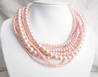Pink Necklace,Pearl Necklace,Layered Necklace,Bridesmaid Gifts,Bead Necklaces,Statement Necklace,Wedding Gift Ideas,Necklace For Women