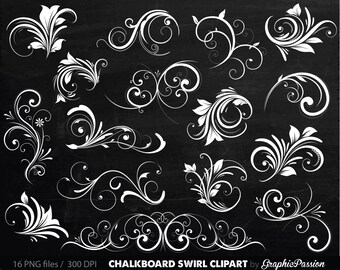 Chalkboard Digital Flourish Swirl Clip Art Digital Flourish Swirls ClipArt Scrapbooking Embellishments Decor Flourish Floral Silhouette