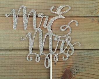 Mr and Mrs Glitter Cake Topper - wedding - reception - venue - cake decor