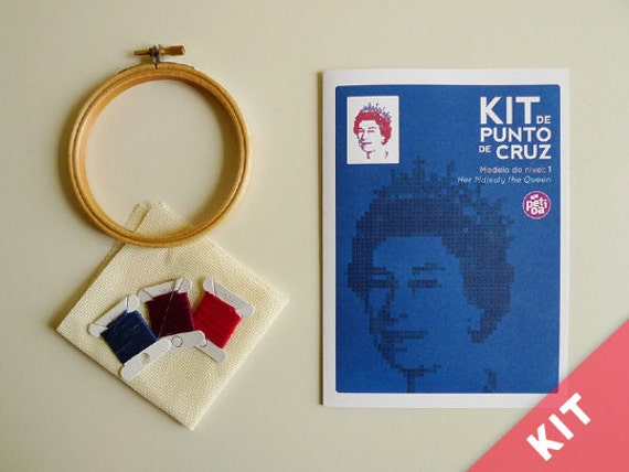 "Cross stitch Kit - Level 1 - ""Queen Elizabeth"""
