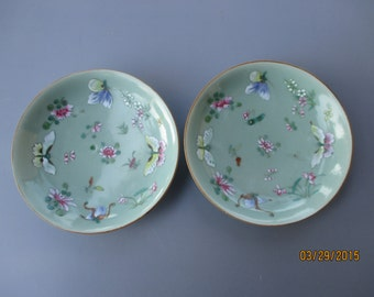 Pair Of Chinese Celadon porcelain Plates qing dynasty-jia qing