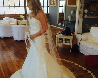 Rosie Veil: Cathedral Length Veil with Chantilly Lace Trim