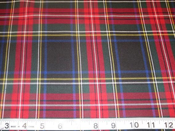 Black Stewart Tartan Plaid Fabric Poly Viscose Fabric