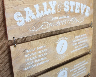 Wooden Wedding Table Plan - Wooden Panels