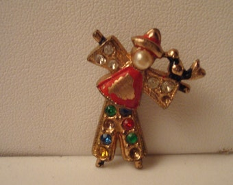 Vintage clown pin movable at waist