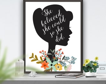 Printable Art She Believed She Could So She Did Inspirational Motivational Printable Quote Women Quote Typography Art  Poster
