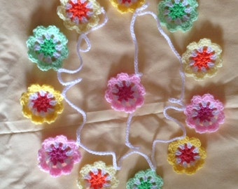 Crochet flower garland bunting