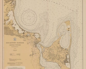 Edgartown Harbor Map - Martha's Vineyard 1927