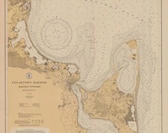 Edgartown Harbor Map - Martha's Vineyard 1927