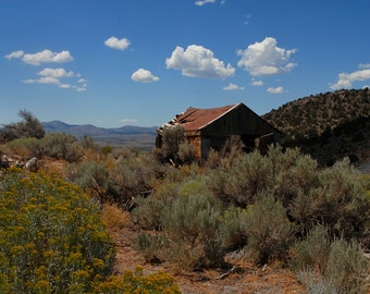 Eureka Utah, Ghost Town, Abandoned, Rust, Building, Shrubs, Puffy Clouds