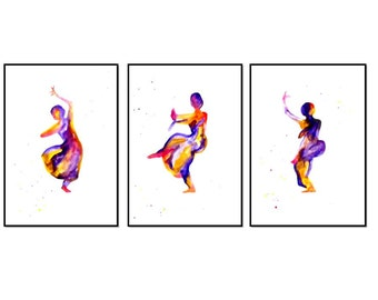 Indian Dance Abstract Indian Home Decor Purple Yellow Wall Decor Indian Art Print Indian painting Apartment Decor 8x12 prints acrylic art