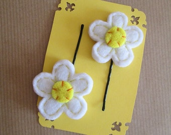 Two Hair pins with felt flowers -  Bobby Pins - Back to School - Gift under 5 -