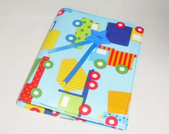 Fabric covered notebook - A 6 - Pale blue with construction vehicle fabric