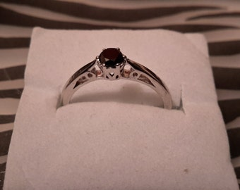 0.20ct black diamond silver ring size m