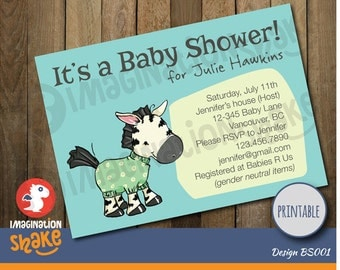 Personalized Baby Shower Invitation PRINTABLE / Baby Shower Invite / DIY Baby Shower Invitation / Customizable Baby Shower Invite / Zebra