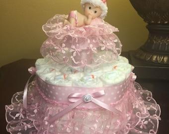 Elegant diaper cake for baby girl- soft and sweet diaper cake