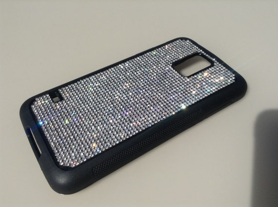 Galaxy S5 Clear Diamond Rhinestone Crystals on Black Rubber Case. Velvet/Silk Pouch Bag Included, Genuine Rangsee Crystal Cases.