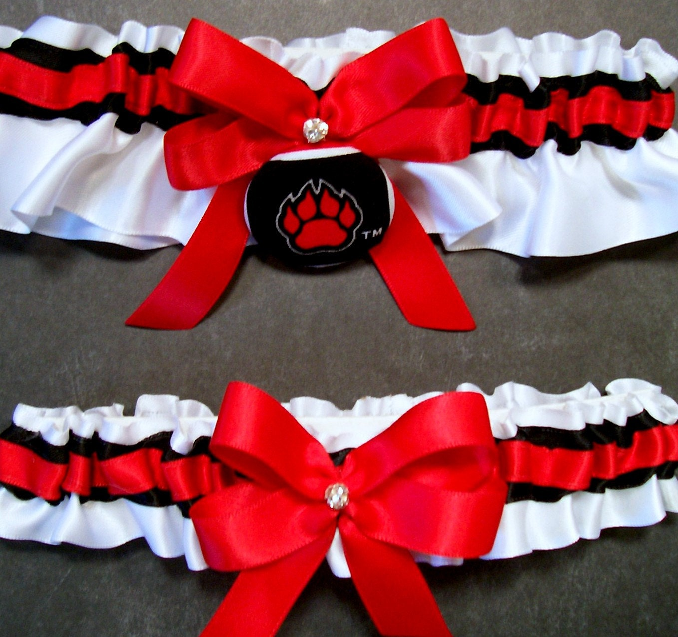 Red Wedding Garters: Handmade Red And Black Wedding Garter Set Bridal Garter Set