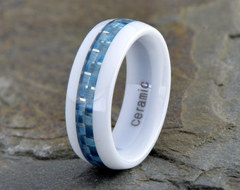 White Ceramic Wedding Ring, Anniversary Carbon Fiber Inlay Band, 8mm, Domed, White Ceramic Couple Ring, Mens Womens Blue Ceramic Band
