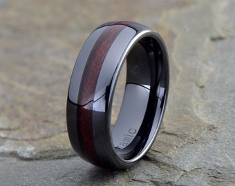 Ceramic Wedding Band, Mens Ring, Mens Wedding Bands, Burgundy Wood laminate inlay, 8mm, Engraving, Mans, Anniversary, His, Set, Size, Women