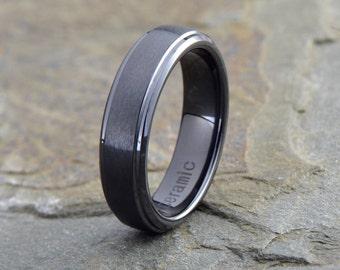 ceramic wedding ring mens ceramic wedding band brushed polished stepped edge ceramic ring
