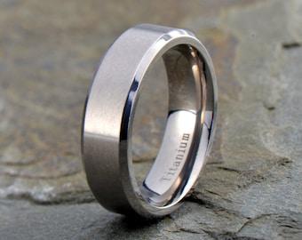 Mens Titanium Wedding Band, Polished Beveled Edge Ring, His, Hers,Titanium Anniversary Rings, Bands, Custom Titanium Rings