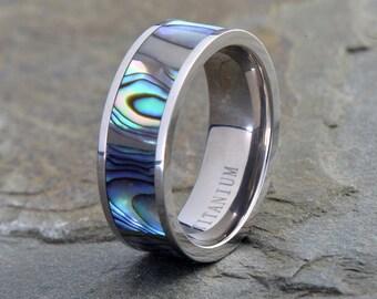 Titanium Wedding Band, Ring With Rainbow Abalone inlay, His, Hers,Titanium Anniversary Rings, Bands, Custom Titanium Rings
