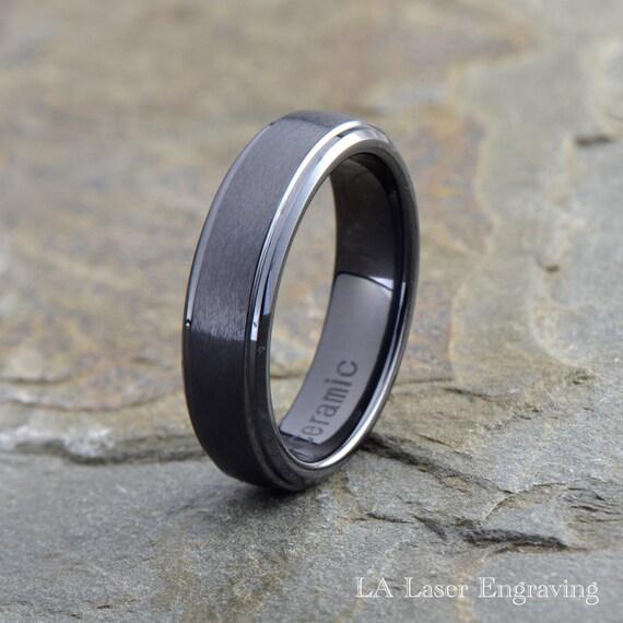Ceramic Wedding Ring Mens Ceramic Wedding Band Brushed
