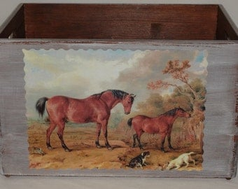 Wooden box with horses Shabby Groß