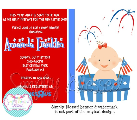May The Fourth Be With You Baby Shower: American Baby July 4th Baby Shower Invitation DIY By: