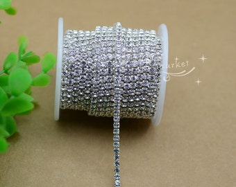 Garment Accessories Rhinestone Crystal  Close Chain Trim 10 YARD (size can choose)