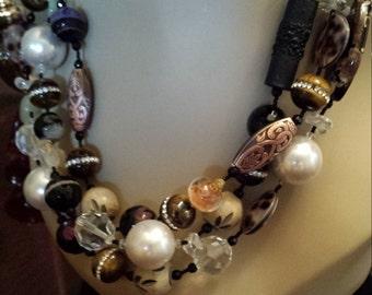 three strand Semi-precious stone necklace