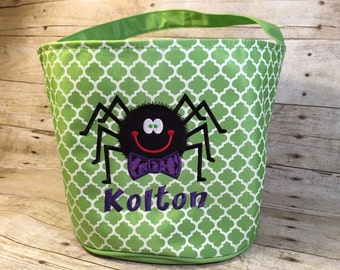 Green Monogramable Quatrefoil  Halloween/Fall Bags Trick-Or-Treat Bags Totes Kids Children Candy