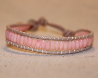Bamboo Coral and Tan Wrap Bracelet