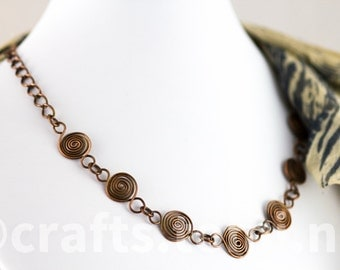 Wire wrapped copper necklace , spiral celtic necklace , celtic symbology spiral necklace copper chain handmade  celtic jewelry