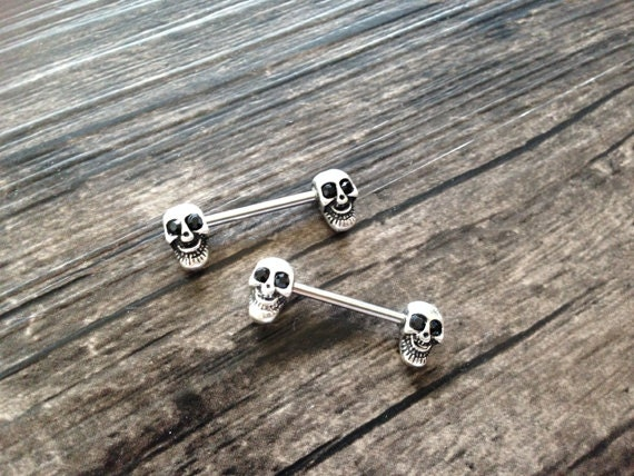 nipple rings cute skull nipple ring barbell 14g nipple