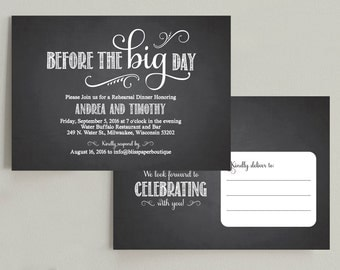 Wedding Rehearsal Dinner Invitation -  Printable Postcard Template PDF - DIY Chalkboard Invitation #BPB68